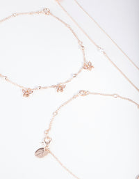 Rose Gold Butterfly Anklet and Bracelet 4 Pack - link has visual effect only