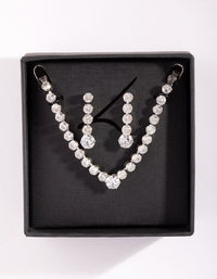 Diamond Simulant Tennis Earring and Necklace Set - link has visual effect only