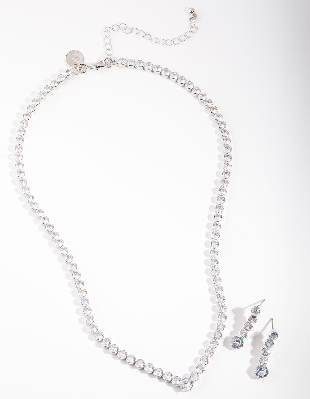 Diamond Simulant Tennis Earring and Necklace Set