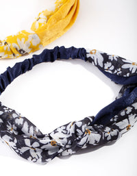 Daisy Print Fabric Headband 2 Pack - link has visual effect only