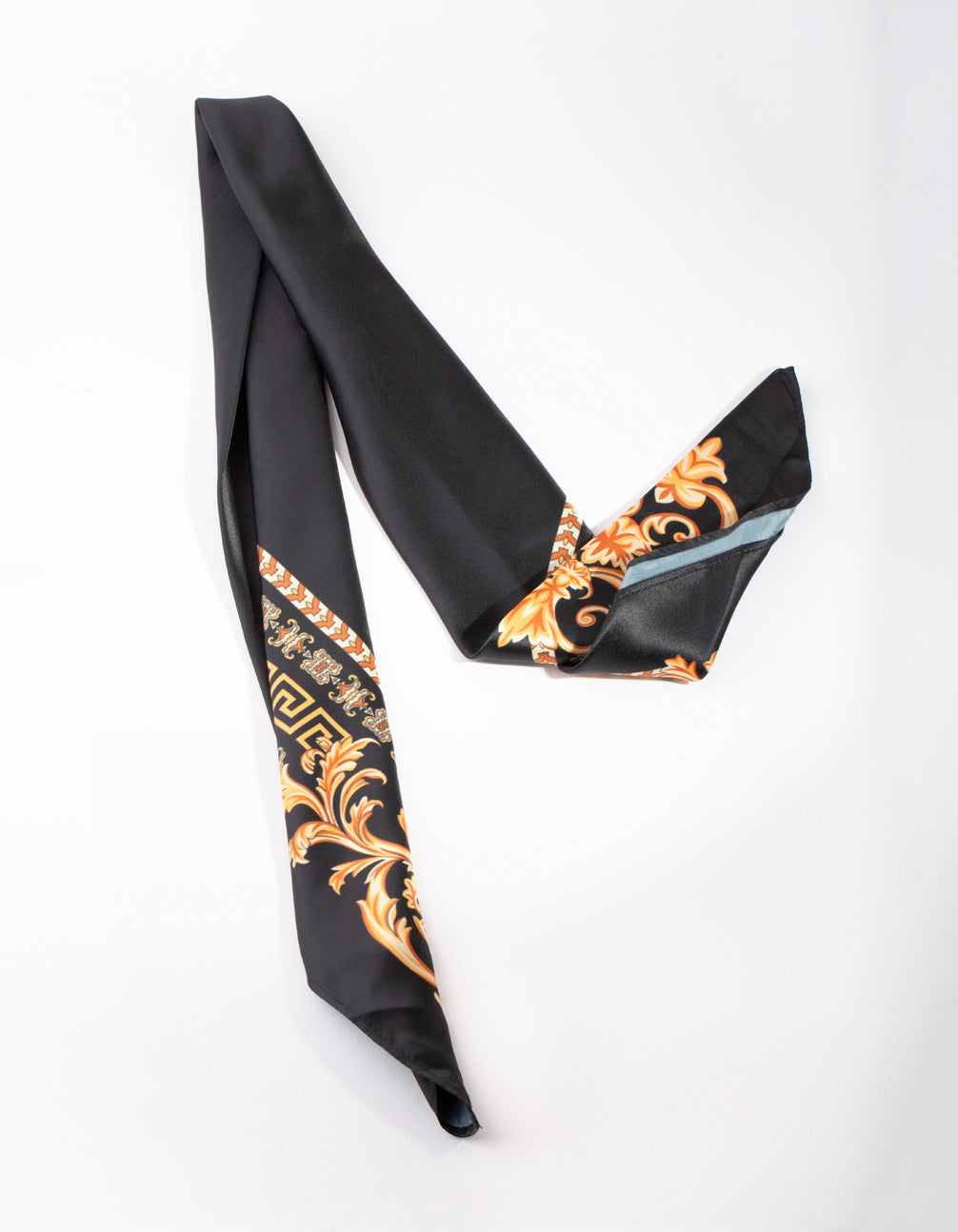 Black and Gold Medusa Print Scarf