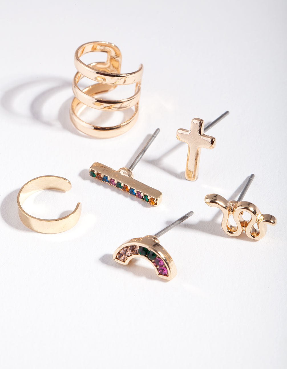 Rainbow Stud and Cuff Earring 6 Pack