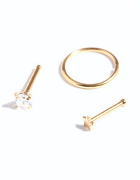 Gold Textured Star Nose Ring 3 Pack - link has visual effect only