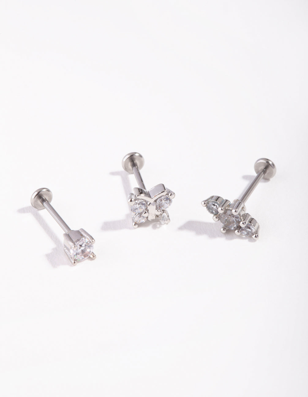 Surgical Steel Rhodium Fine Butterfly 3-Pack Flat Back