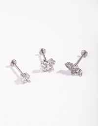 Surgical Steel Rhodium Fine Butterfly 3-Pack Flat Back - link has visual effect only