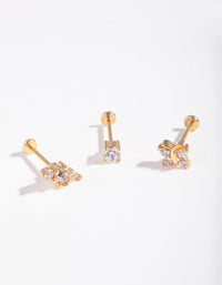 Gold Surgical Steel Fine Butterfly Flatback 3 Pack - link has visual effect only