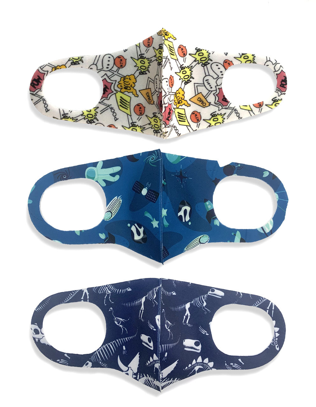 Kids Dinosaur 3 Pack Face Masks