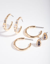Gold Large Hoop Cratered Stone Earring 3 Pack - link has visual effect only