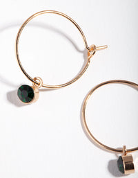 Gold Green Stone Fine Hoop Earring - link has visual effect only