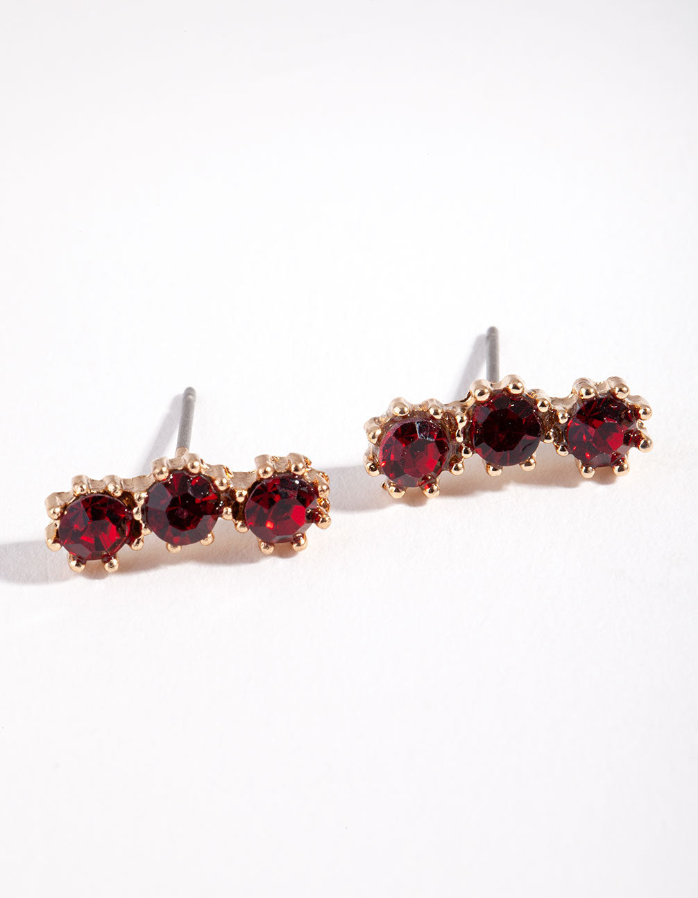 Gold Triple Red Stone Stud Earring