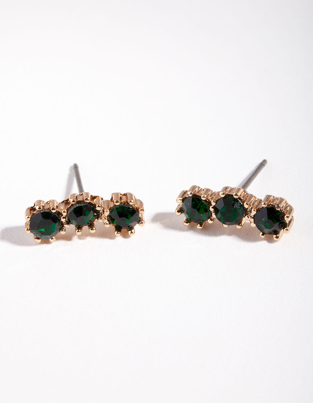 Gold Triple Green Stone Stud Earring