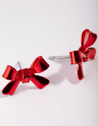 Matte Acrylic Shiny Bow Stud Earrings - link has visual effect only