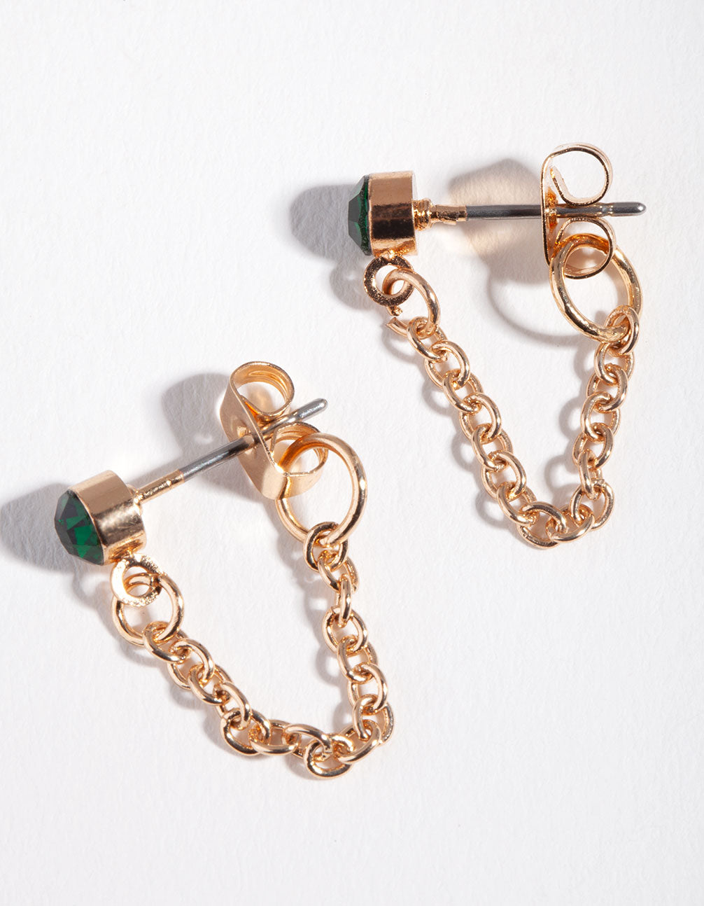 Gold Green Stone Chain Stud Earring