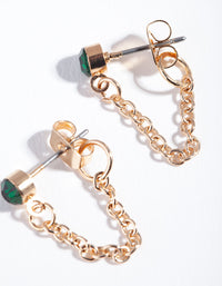 Gold Green Stone Chain Stud Earring - link has visual effect only