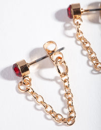 Gold Red Stone Chain Stud Earring - link has visual effect only