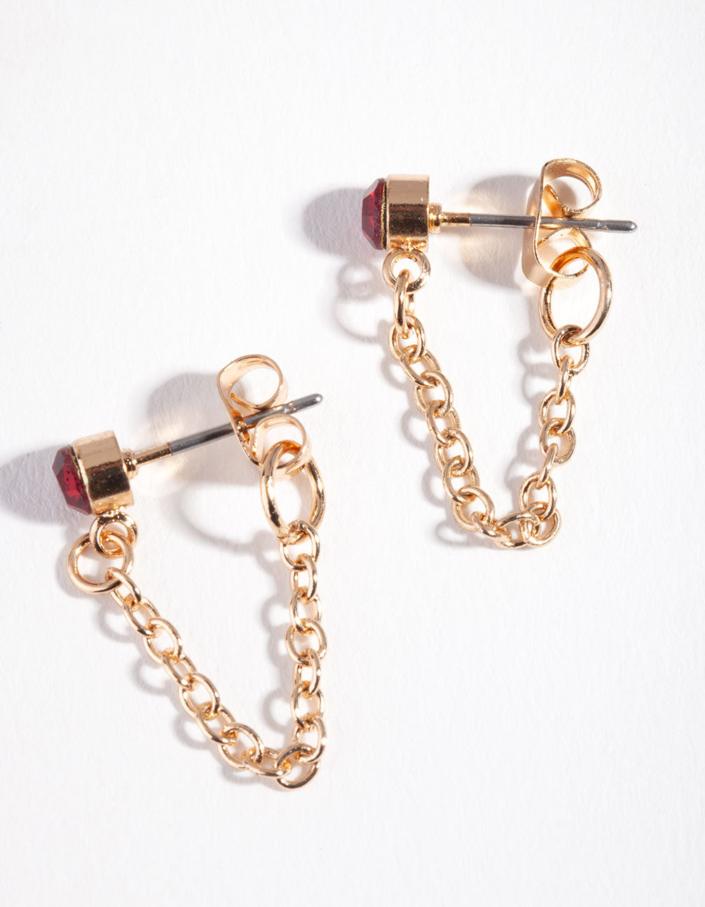 Gold Red Stone Chain Stud Earrings