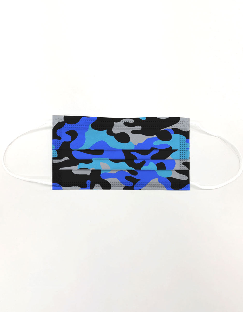 10 Pack Single Use Disposable Blue Camo Face Mask