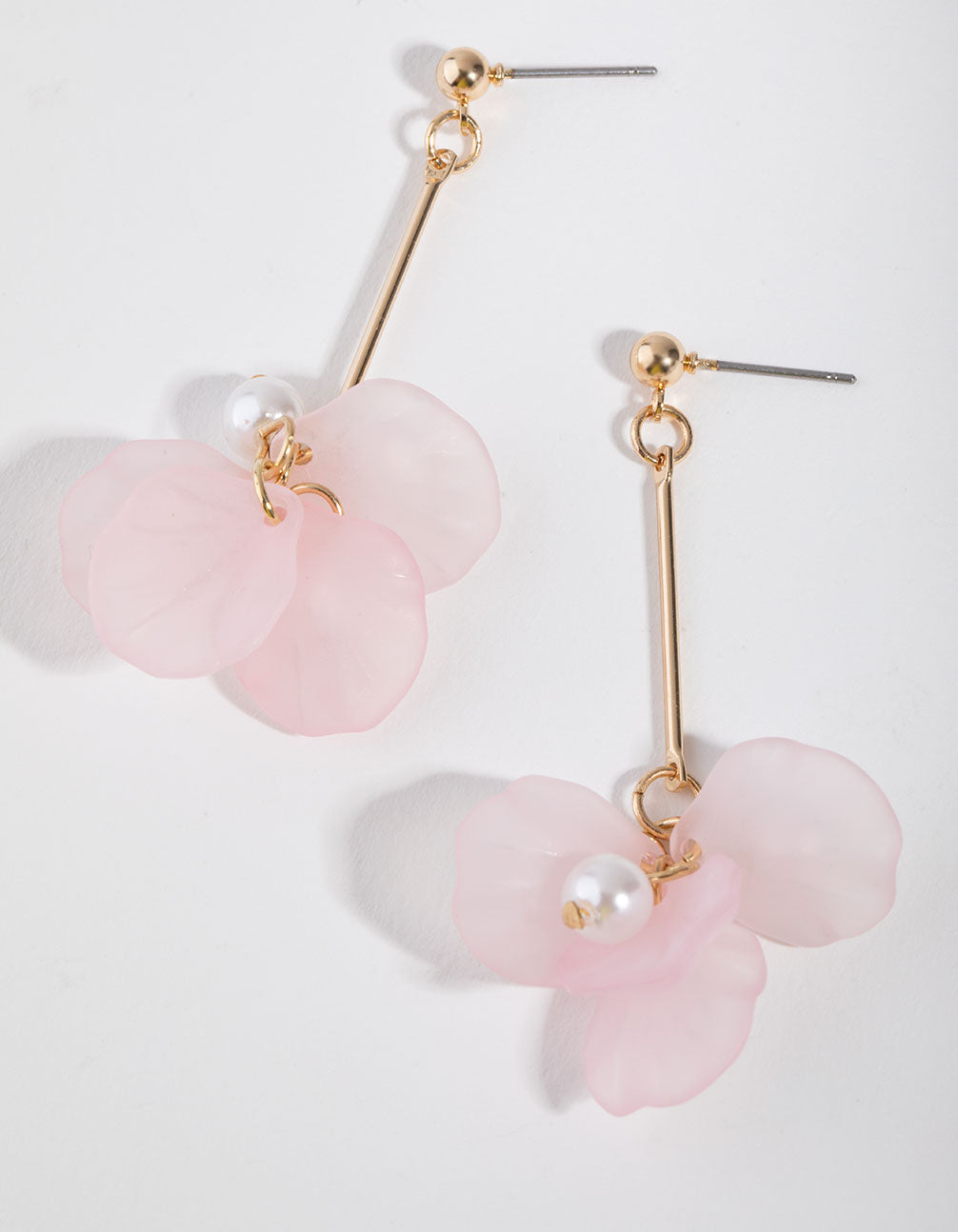 Gold Acrylic Petal Drop Earrings