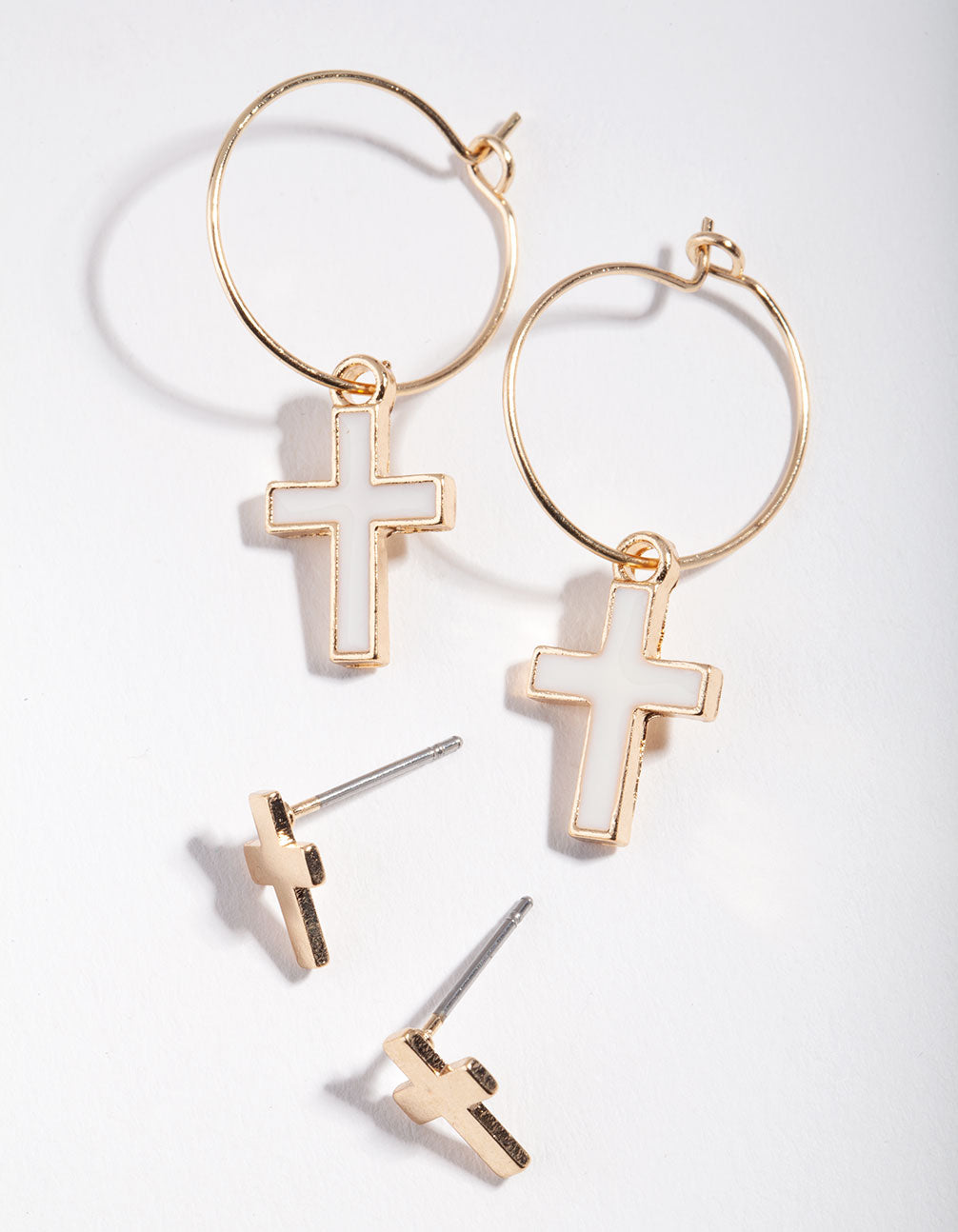 Gold Cross Hoop 2-Pack Earrings