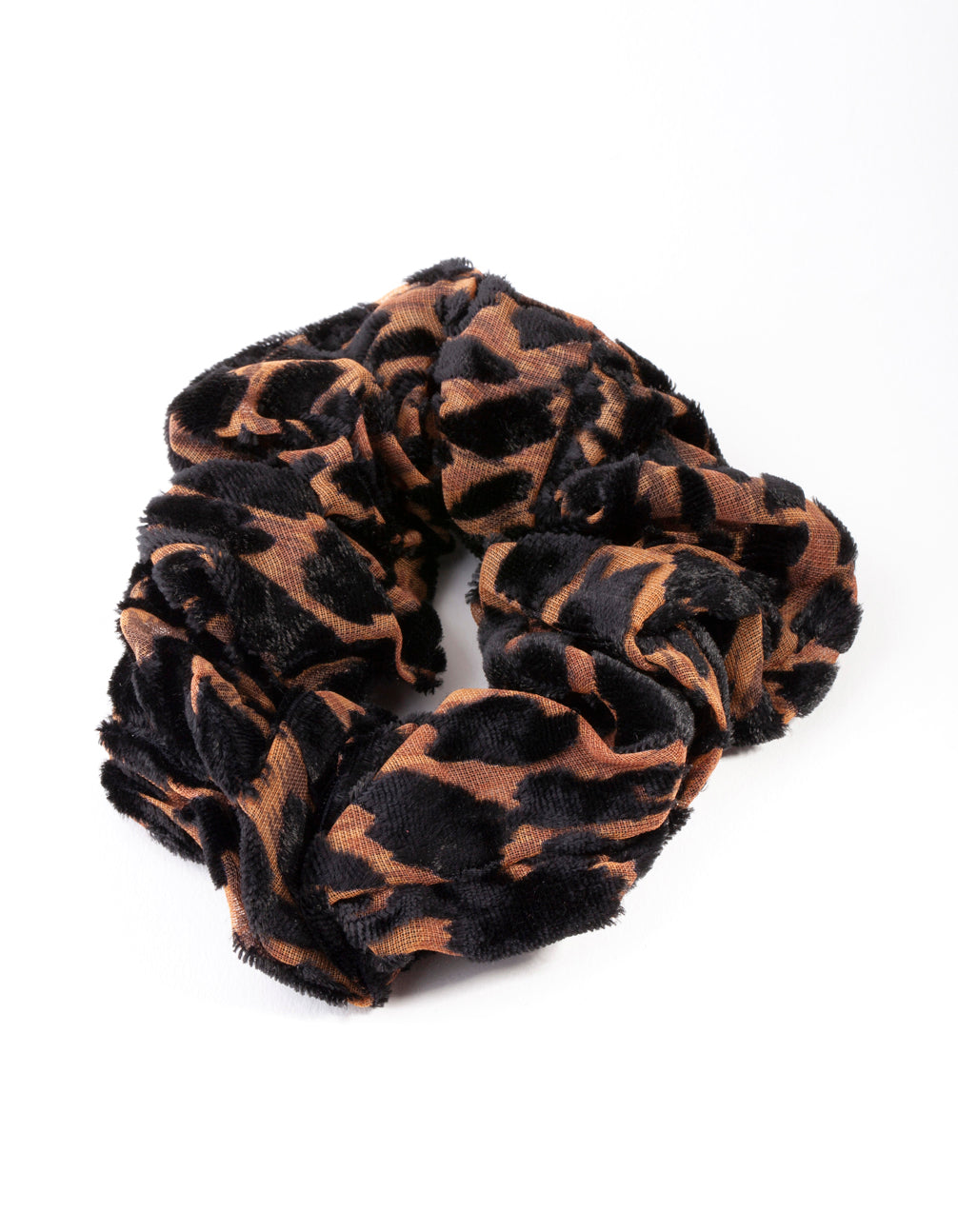 Brown and Black Velvet Leopard Scrunchie