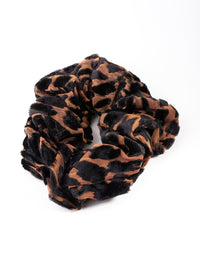 Brown and Black Velvet Leopard Scrunchie - link has visual effect only