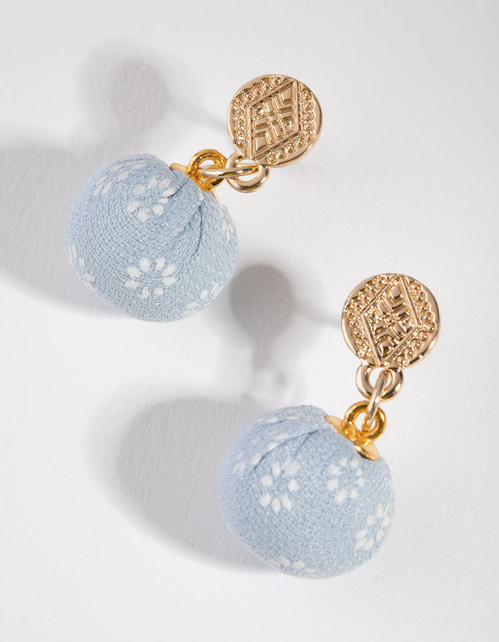 Gold Fabric Ball Drop Earrings