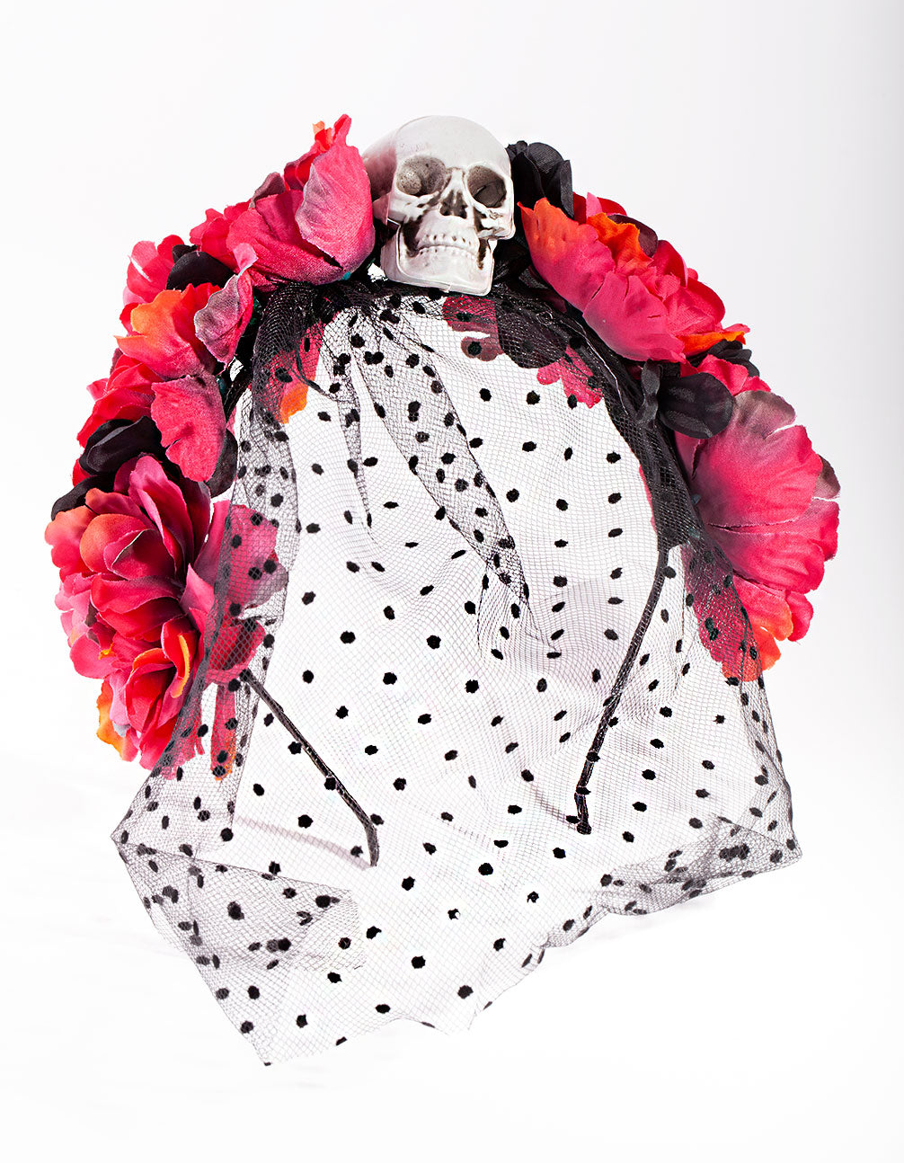 Red Flower Skull Headband