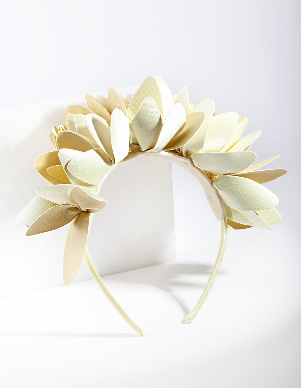 Cream Leatherette Flower Petal Headband