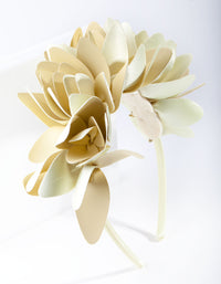 Cream Leatherette Flower Petal Headband - link has visual effect only