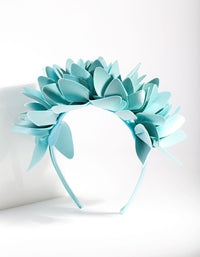 Blue Leatherette Flower Petal Headband - link has visual effect only