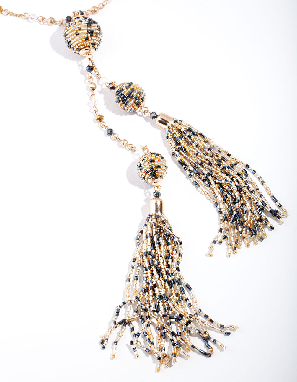 Gold Bugle Bead Tassel Necklace