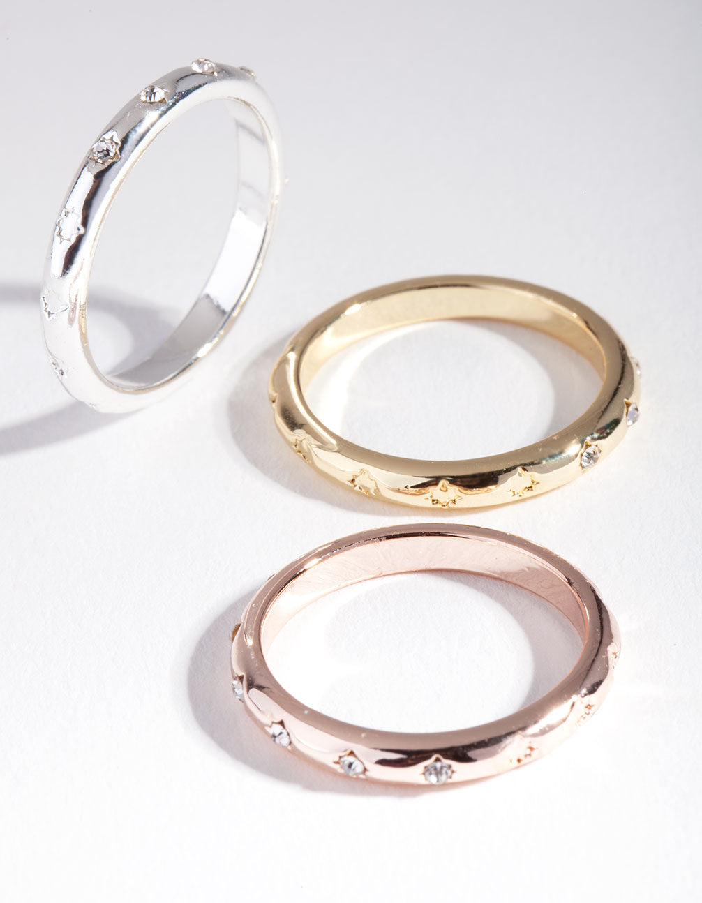 Mixed Metal Diamante Ring 3 Pack