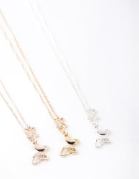 Mixed Metal Butterfly Necklace 3 Pack - link has visual effect only