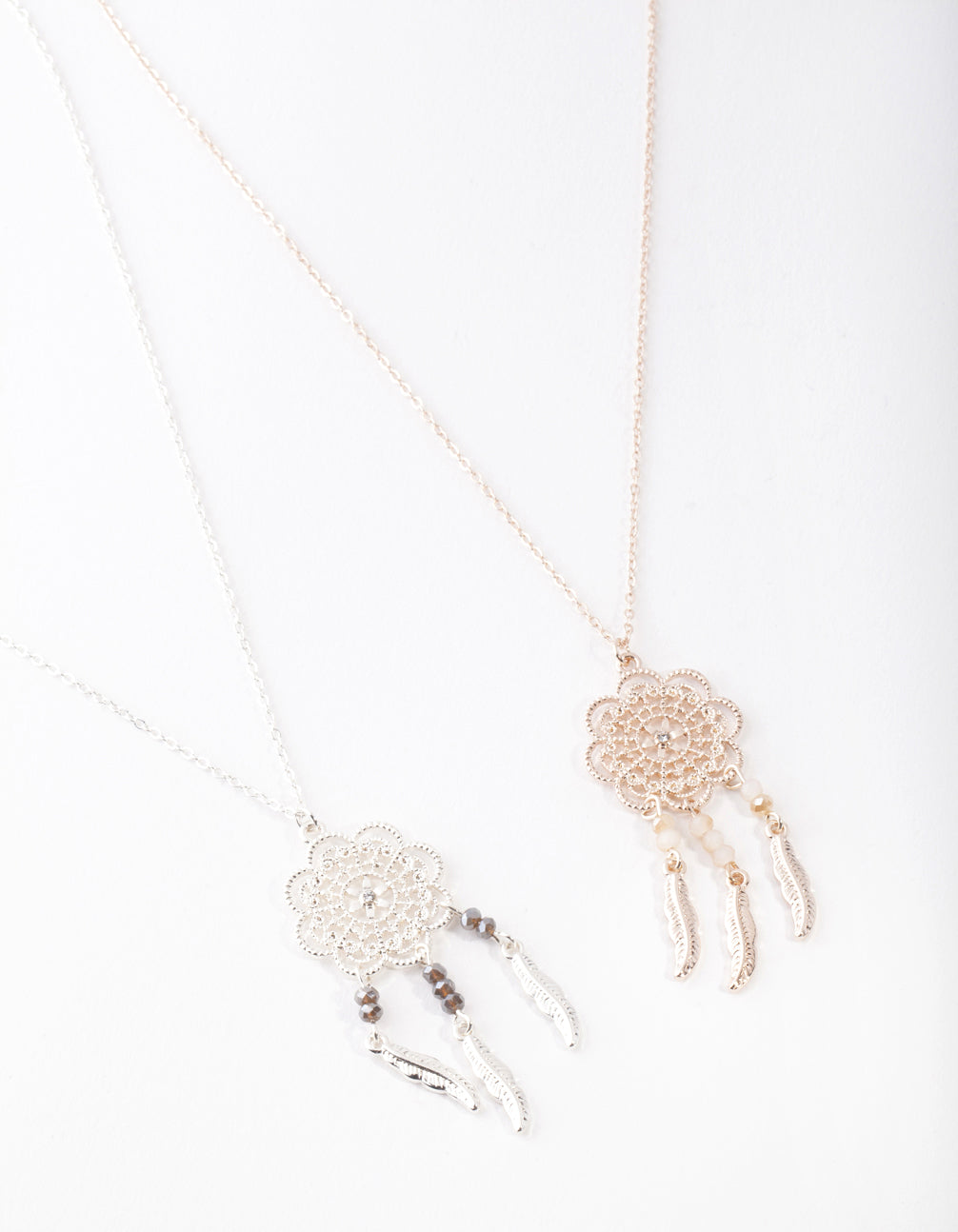 Mixed Metal Large Dreamcatcher Necklace 2 Pack