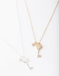 Mixed Metal Diamante Key Necklace 2 Pack - link has visual effect only