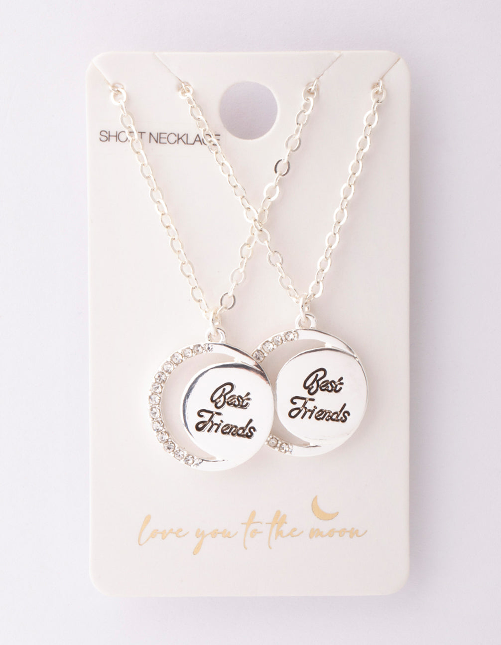 Silver Best Friend Crescent Moon Necklace 2 Pack