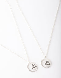 Silver Best Friend Crescent Moon Necklace 2 Pack - link has visual effect only