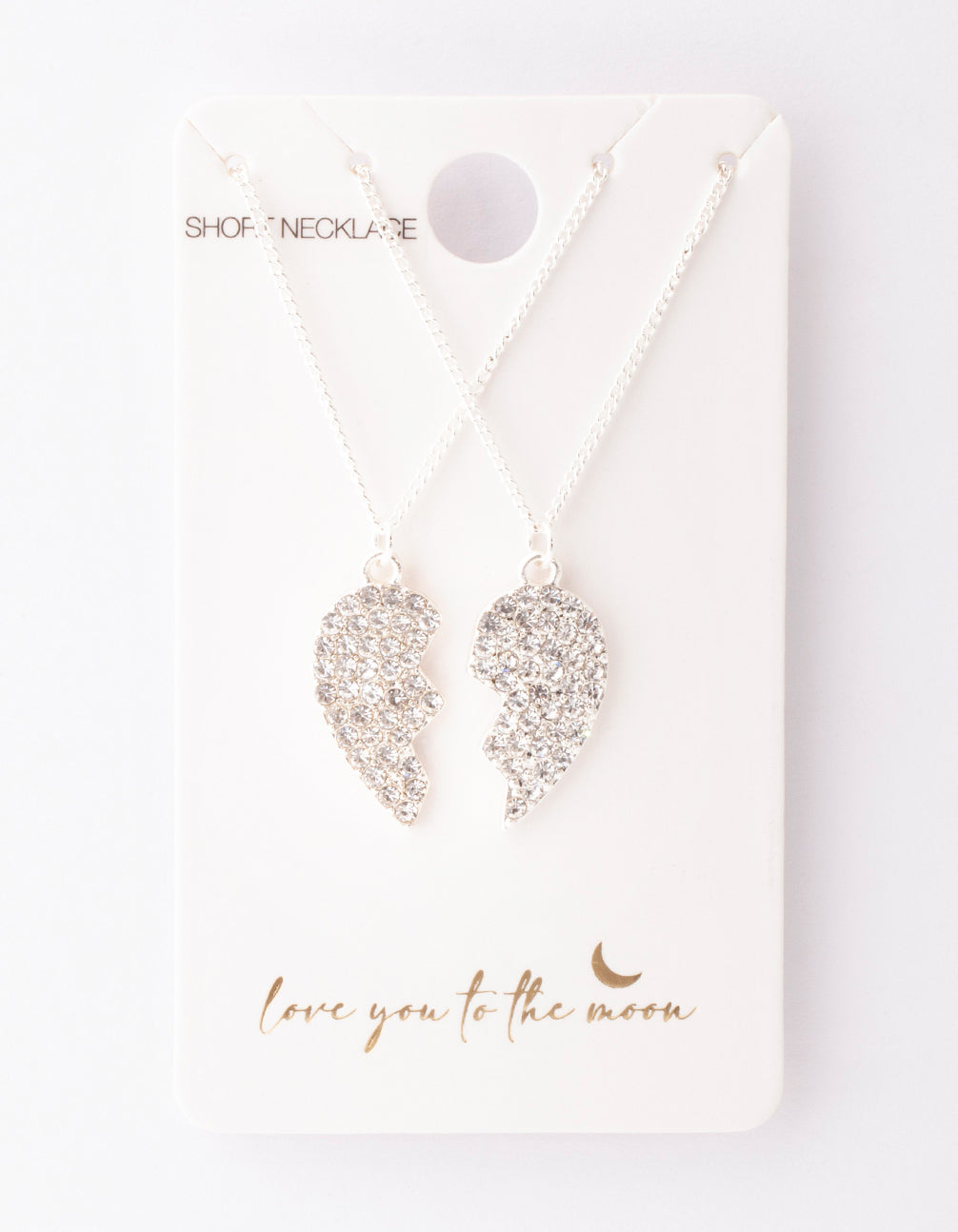 Silver Diamante Half Heart Necklace 2 Pack