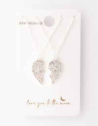 Silver Diamante Half Heart Necklace 2 Pack - link has visual effect only