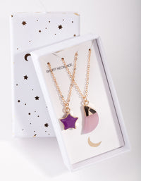 Gold Star and Moon Semi-Precious 2-Pack Necklace - link has visual effect only