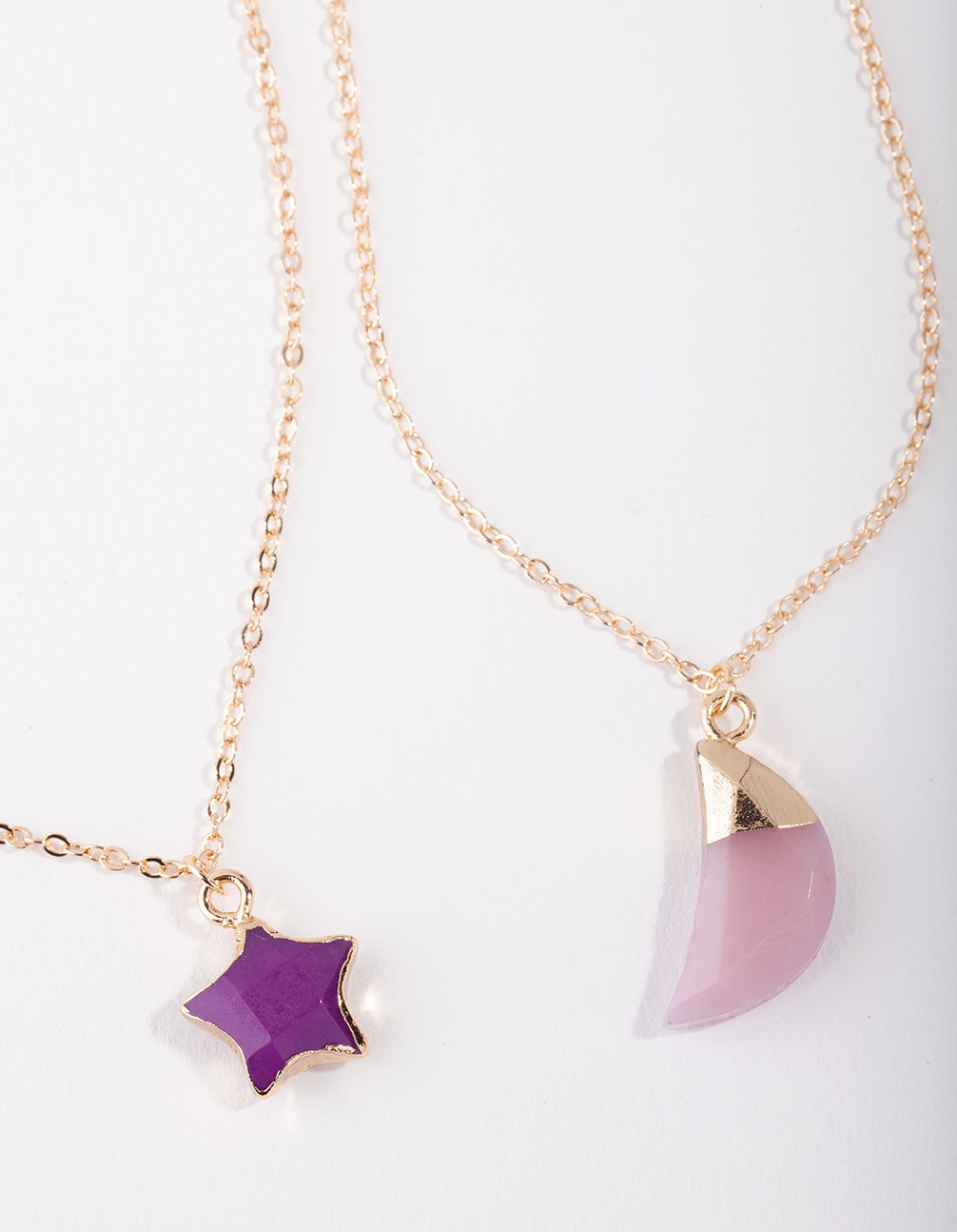 Gold Star and Moon Semi-Precious 2-Pack Necklace