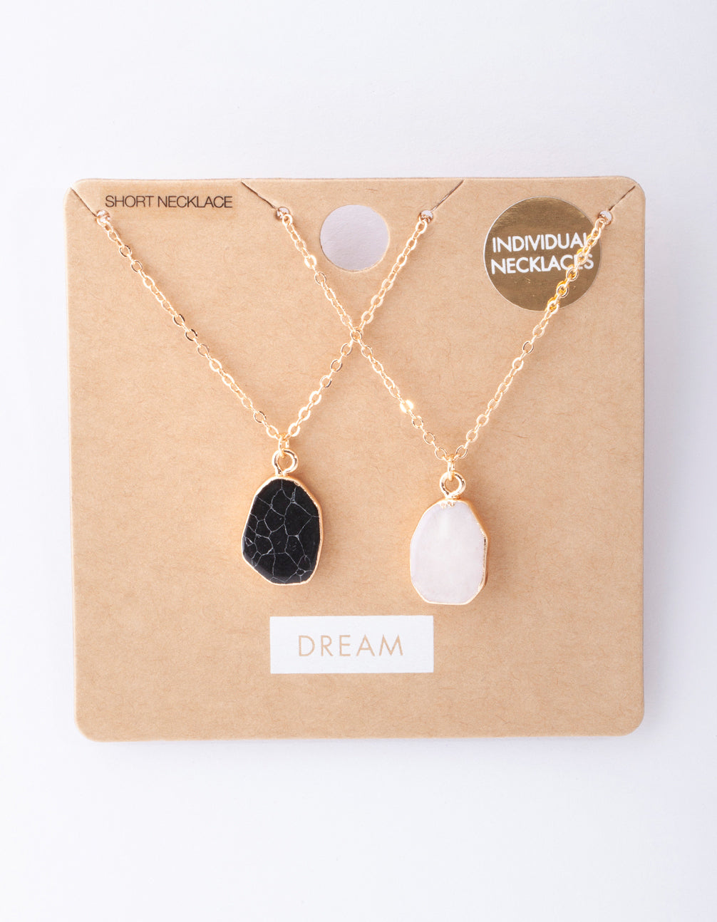 Gold Large Dark Semi Precious Stone Necklace 2 Pack