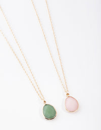 Gold Large Semi Precious Necklace 2 Pack - link has visual effect only