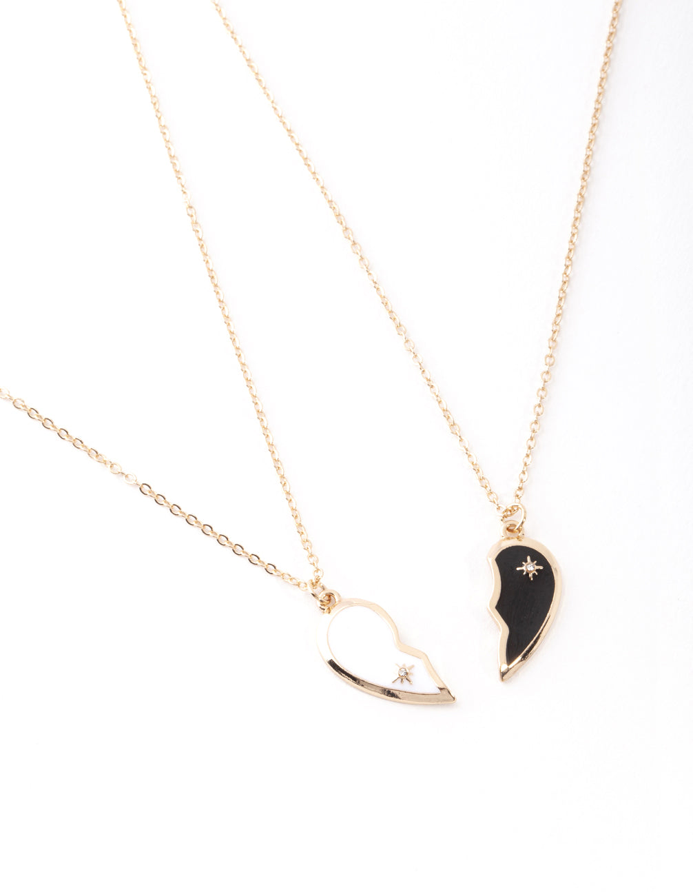 Gold Black and White Half Heart Yin and Yang Necklace 2 Pack