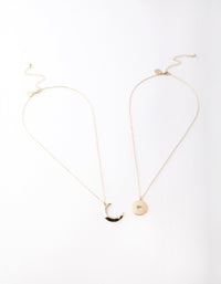 Gold Moon and Star Diamante Necklace 2 Pack - link has visual effect only