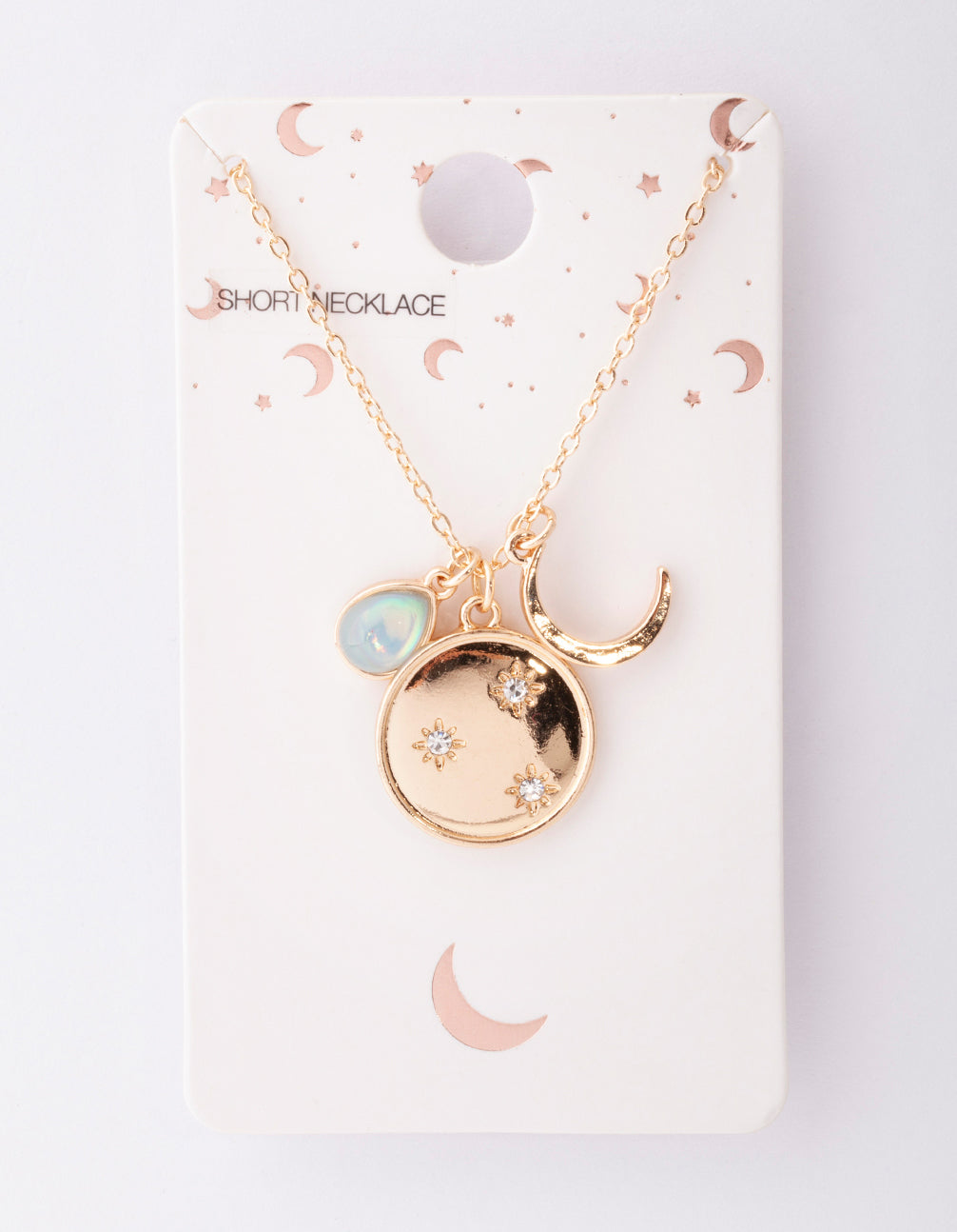 Gold Crescent Moon Charm Necklace