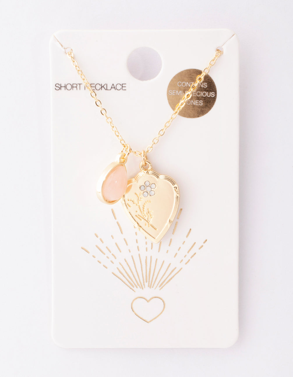 Gold Heart and Pink Semi Precious Stone Necklace