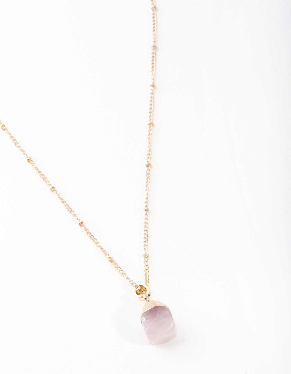 Gold Pink Semi Precious Stone Necklace