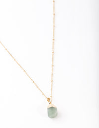 Gold Green Semi Precious Stone Necklace - link has visual effect only