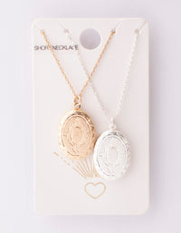 Mixed Metal Oval Locket Necklace 2 Pack - link has visual effect only